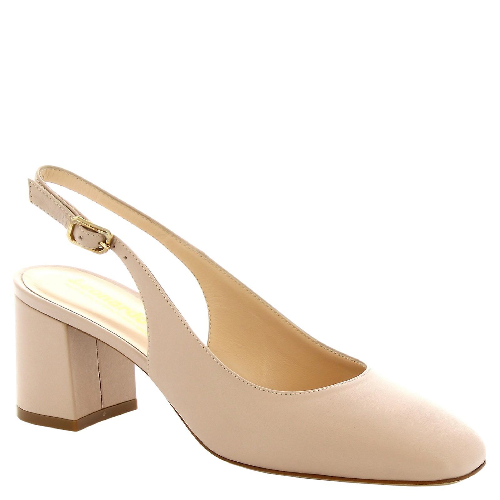 Women's handmade square toe slingback shoes in beige calf leather 6 cm 2sBDi