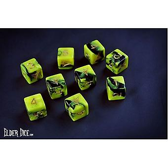 Elder Dice 9D6 Tube - Yellow/Black Yellow Sign