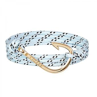 Holler Kirby  Gold Polished Hook / Light Blue, Black and White Paracord Bracelet HLB-04GDP-P18