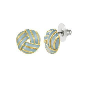 Eternal Collection Prestige Blue Enamel Gold Tone Stud Pierced Earrings