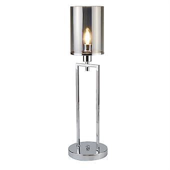 Catalina Chrome Lampa stołowa Smokey szkło - Searchlight 9052CC