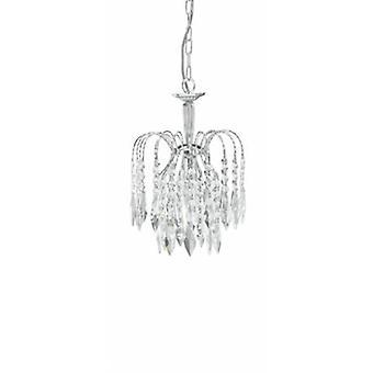 1 ljus tak hänge krom med kristaller