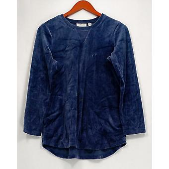 Denim & Co. Women ' s Petite Top XSP Active welour tunika Indigo Blue A260201