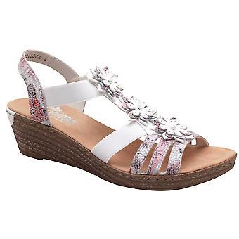 Rieker Trinidad Strappy Flower Klin biały sandał