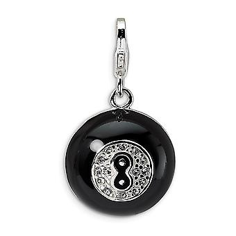 925 Sterling Silver Enamel Rhodium plated Fancy Lobster Closure 3 D Crystal Magic 8 Ball With Lobster Clasp Charm Pendan