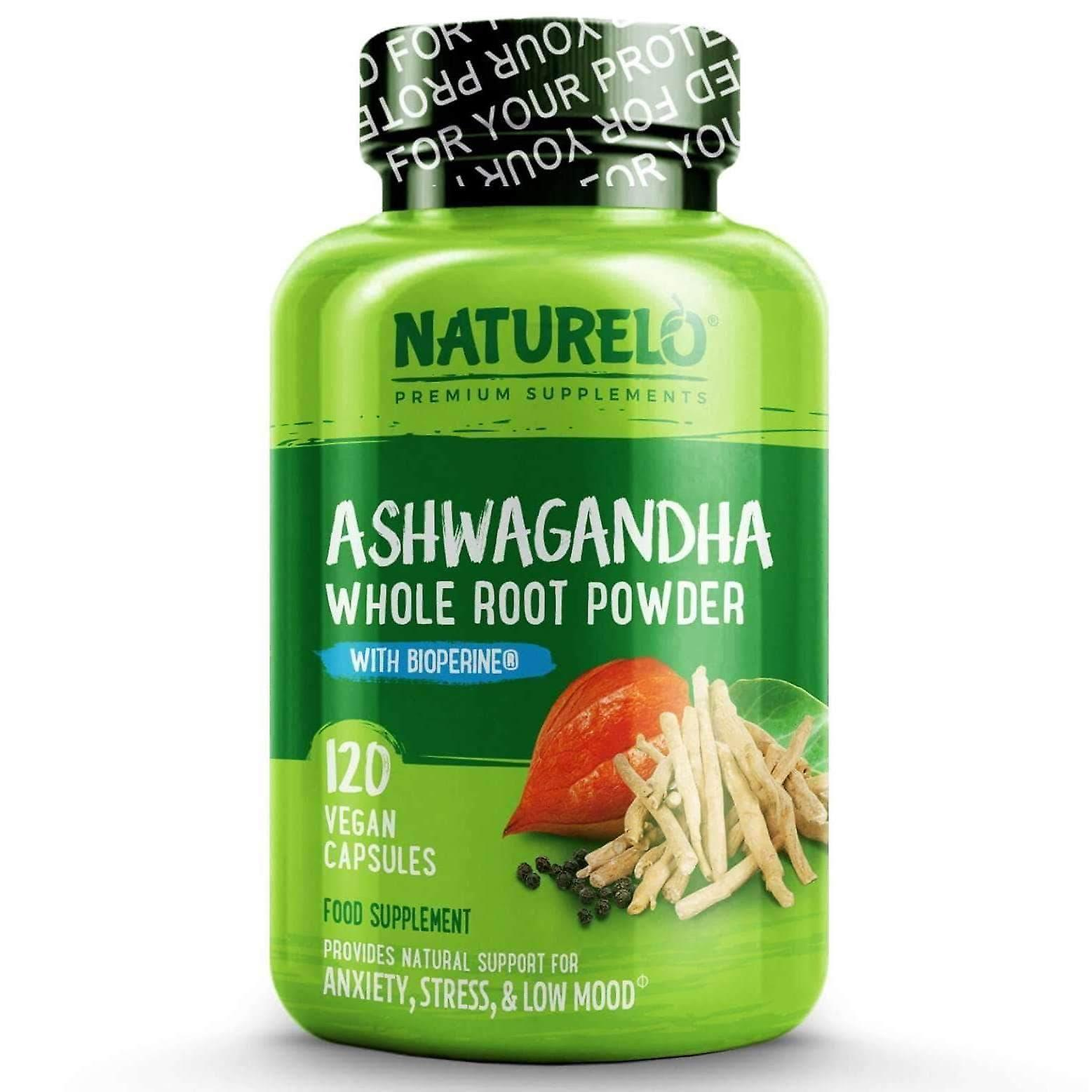 Ashwagandha root pure dried herb with black pepper extract - 120 caps | 4 month supply (vegan)