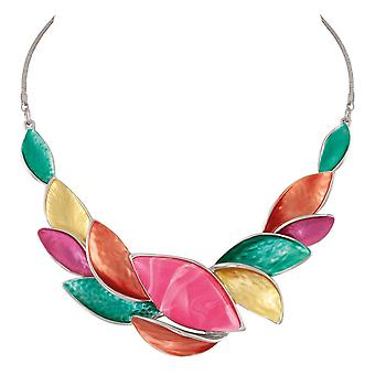 Eternal Collection Haven Rainbow Multi Coloured Enamel Silver Tone Statement Necklace