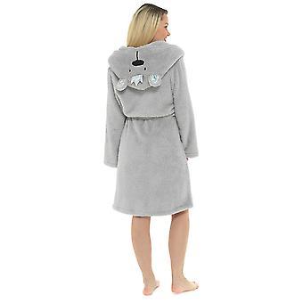 Damen Kapuze & Krone Design Fleece Nachtwäsche Bademantel Dressing Kleid