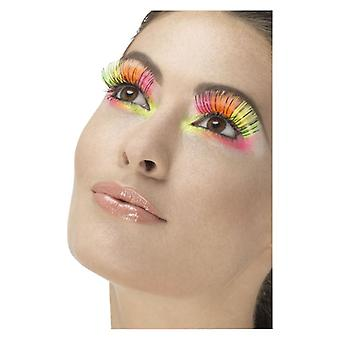 80s Party Eyelashes, Neon, Multi-Coloured With Glue Fancy Dress Accessory