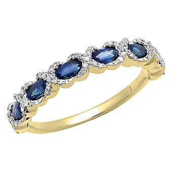 4 x 2 MM elke Marquise Blue Sapphire & ronde Diamond dames trouwring, 10K Yellow Gold