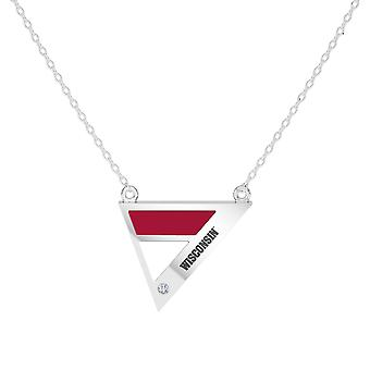 University Of Wisconsin Engraved Sterling Silver Diamond Geometric Necklace In Red & White