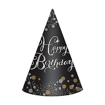 Amscan 8 Sparkling Birthday Celebration Paper Cone Hats