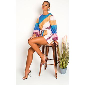 IKRUSH النساء هيلاري Sequin لون كتلة Playsuit