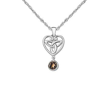 Celtic Holy Trinity Knot Love Heart Shaped Necklace Pendant - A Smoky Quartz Stone - Includes A 18