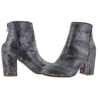 Very G Boa Women's Faux Snakeskin Suede Metallic Block Heel Ankle Bootie