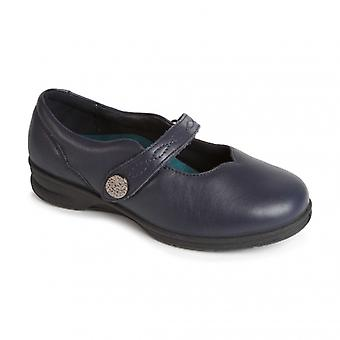 Padders Kay Ladies Leather Super Wide (4e/6e) Mary Jane Shoes Navy