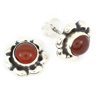 Karneol Ohrstecker 925 Silber Sterlingsilber Ohrringe orange rot (KLE-OS-024)