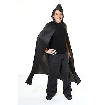 Adulti Long Hooded Nero Cape Fancy Abito Costume