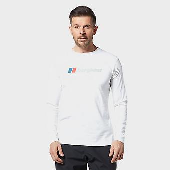 Nieuwe Berghaus mannen ' s groot logo lange mouw T-shirt wit
