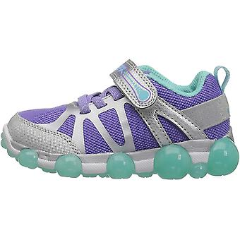 Stride Rite Girls' Leepz 3.0 Lighted Sneaker, Silver/Purple, 3 M US Little Kid