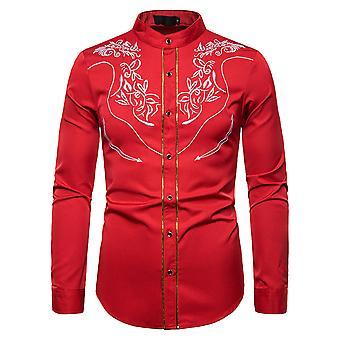 Alle Themen Men's Casual Fashion bestickt bedeckt Stand-up Kragen Langarm Shirt