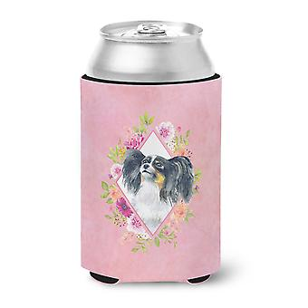 Carolines Treasures  CK4165CC Papillon Pink Flowers Can or Bottle Hugger