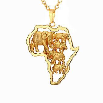 U7 Africa Elephant Necklace-Gold