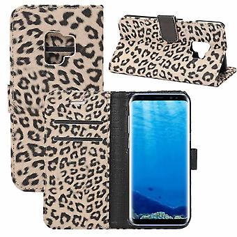 For Samsung Galaxy S9 Wallet Case,Leopard Pattern Leather Protective Cover,Brown