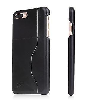 iPhone 8 PLUS,7 PLUS lompakko kotelo, moderni vaha lehmä kestävä nahkakansi, musta