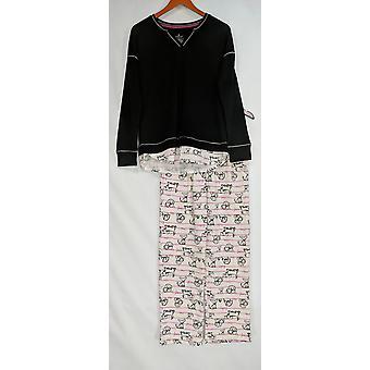 Cuddl Duds Kvinner & apos; s Komfortklær Nyhet Pyjamas Sett Stripete Svart A310293