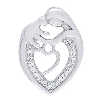 925 Sterling Silver CZ Cubic Zirconia Simulated Diamond Mother Child Love Heart 2.16gm Womens Charm Pendant Necklace