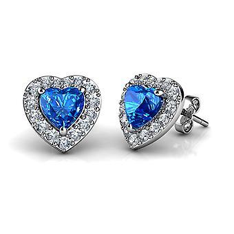 Dephini blue heart stud earrings 925 sterling silver stud earrings cz
