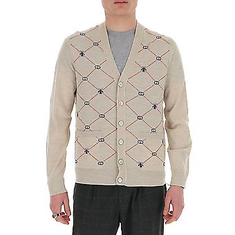 Gucci 597741xka4i9133 Men's Beige Wool Cardigan