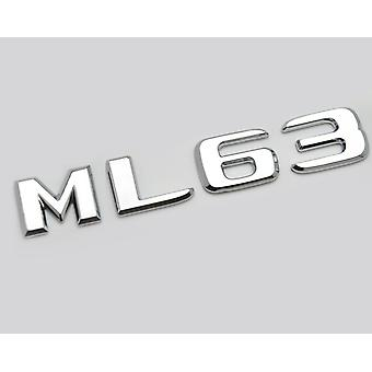 Silver Chrome ML63 Flat Mercedes Benz Car Model Rear Boot Number Letter Sticker Decal Badge Emblem For M Class W163 W164 W166 AMG