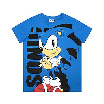 Sonic The Hedgehog T-paita Boy's Sininen hahmo Supersonic Cartoon Kids Top