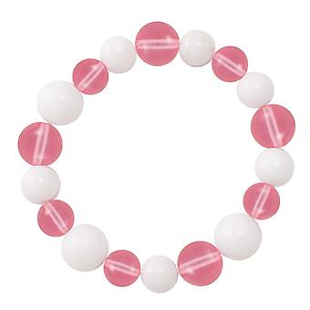 Eternal Collection Jamboree Rose Pink And White Czech Glass Beaded Stretch Bracelet