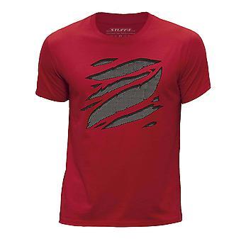 STUFF4 Chłopca rundy szyi T-shirty-Shirt i dużych Rip/szary Carbon Fibre czerwony