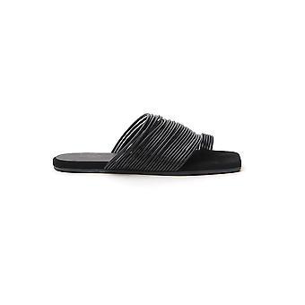 Mm6 Maison Margiela S40wp0150pr205t8013 Women's Black Leather Flip Flops