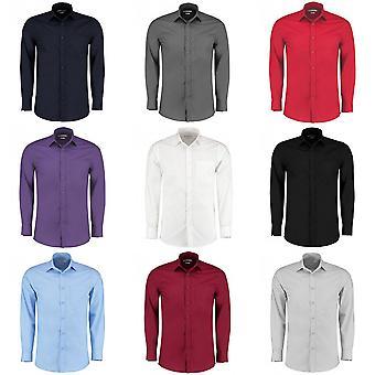 Kustom Kit Mens Long Sleeve adaptados camisa popeline