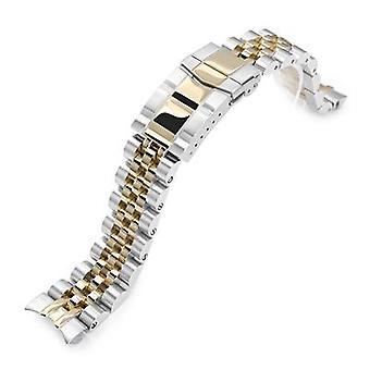 צמיד שעון Strapcode 20mm אנגוס יובל 316l נירוסטה שעון צמיד עבור seiko מכני אוטומטי sarb033, שני טון IP זהב, wcp84667