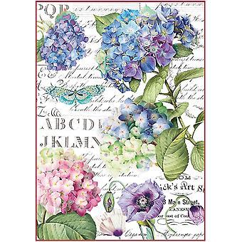 Stamperia Reis Papier Blatt A4-Hortensia & Libelle