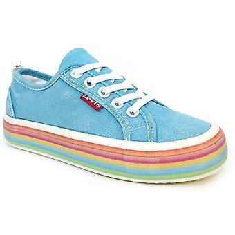 Levis Girls Pearl Elastic Canvas Shoes Aqua Blue