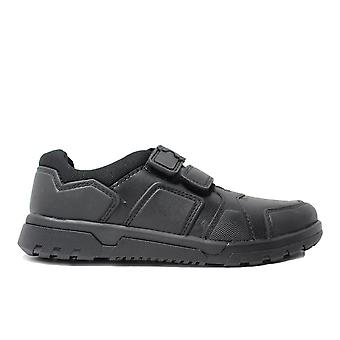Chaussures Clarks Blake Street Black Leather Boys Rip Tape School