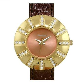 Henley Glamour Bronze Strap CZ Bezel Ladies Fashion Watch H06004.3