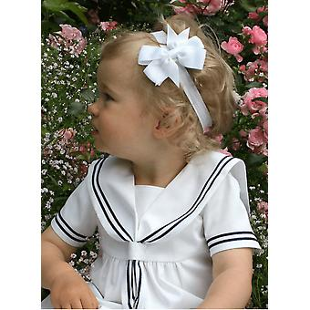Baptism Diadem For Baby-girls With Beautiful White Bow - Grace Of Sweden