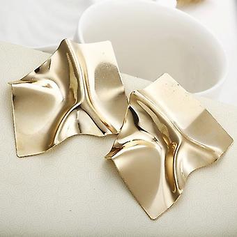 Fett faltige geometrische Ohrstecker - Gold