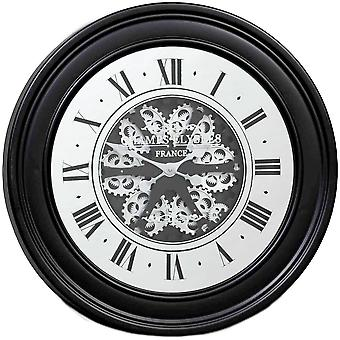 Round 80cm French mirrored moving cogs wall clock - Black w/silver