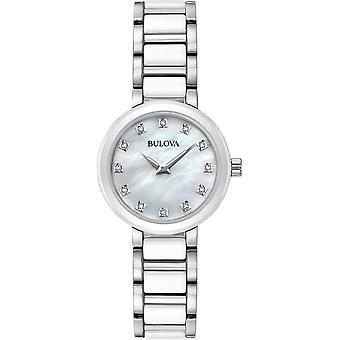 Bulova 98P158 Diamond Set Dial rustfrit stål og keramisk armbåndsur