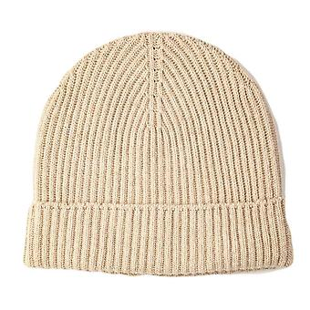 Johnstons of Elgin Cashmere Ribbed Hat - Natural Beige