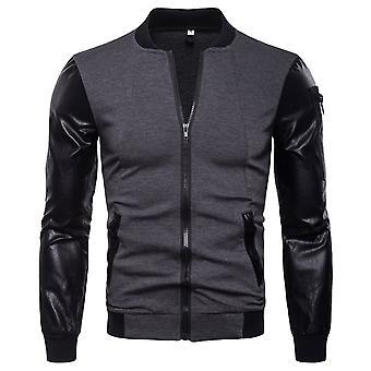 Allthemen Men's Jacket Cotton Blend Spliced Zipper Casual Jacket